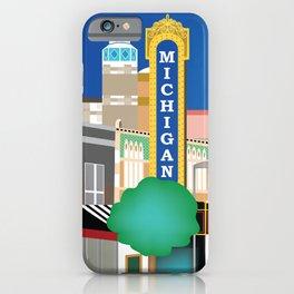 Ann Arbor, Michigan - Skyline Illustration by Loose Petals iPhone Case