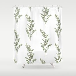 Baby Blue Eucalyptus Watercolor Painting Shower Curtain