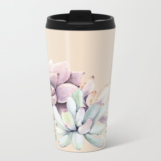 Trendy Apricot + Mint Succulents Metal Travel Mug