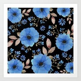 Blue flowers with black Art Print