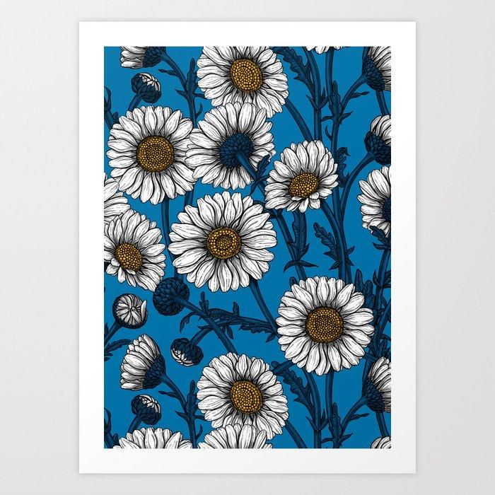 Daisies on blue Art Print