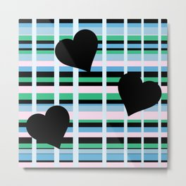 Three Black Hearts - Blue Green Metal Print