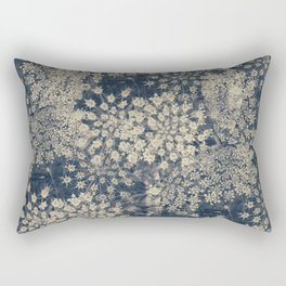 Dreamy Old Lace Flower and Navy Blue Denim Floral Rectangular Pillow