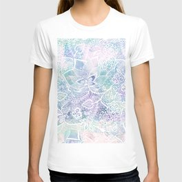 Modern purple lavender turquoise watercolor floral lace hand drawn illustration T-shirt