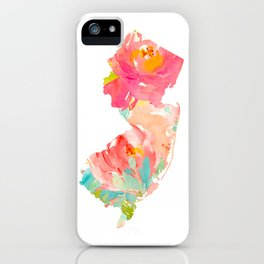 new jersey floral state map iPhone Case