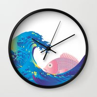 hokusai Wall Clocks featuring Hokusai Rainbow & Jpanese Snapper  by FACTORIE