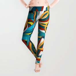 Street Loves Art Graffiti Urban Art Writing Blue and Yellow Leggings