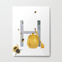 H - Honey Metal Print