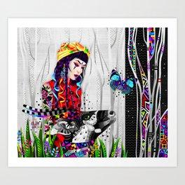 Girl and antelope Art Print