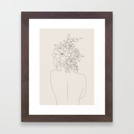 Woman with Flowers Minimal Line I Framed Art Print