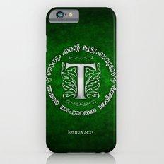 Joshua 24:15 - (Silver on Green) Monogram T Slim Case iPhone 6