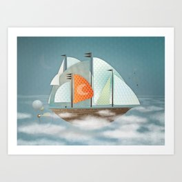 Sailing on clouds Art Print