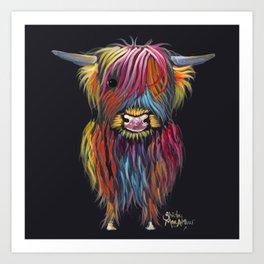 Scottish Highland Cow ' BRAVEHEART ' by Shirley MacArthur Art Print