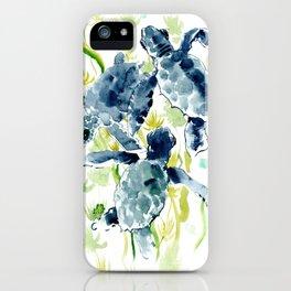 Sea Turtles , Indigo Blue Olive green Turtle art iPhone Case