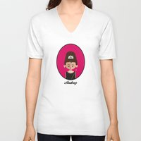 audrey hepburn V-neck T-shirts featuring Audrey Hepburn by Juliana Motzko