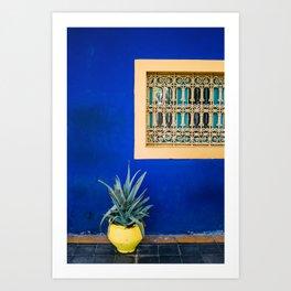 Moroccan Garden In Blue | Yellow Flower Pot | Agave Marrakesh Kunstdrucke