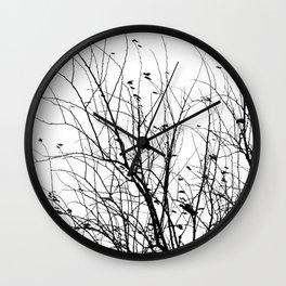 Black white tree branch bird nature pattern Wall Clock