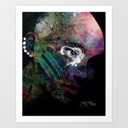 She Wears Her Scars Like a Warrior: a colorful texture abstract piece by KKingCreat Art Print