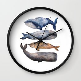 Whales // Fashion Illustration Wall Clock