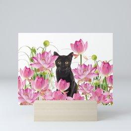 Black Cat Lotos Flower Gras Mini Art Print