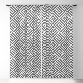 VAGUE BLOCK BLACK AND WHITE BY SUBGRL Sheer Curtain