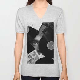 Long-playing Records and Covers in Black and White - Good Memories #decor #society6 #buyart Unisex V-Neck