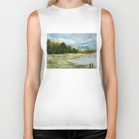 fishing Biker Tanks featuring Fishing by Baris erdem