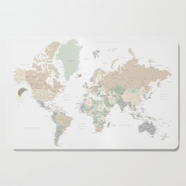 """World map with cities, """"Anouk"""" Cutting Board"""