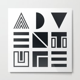 Geometric Adventure B&W Metal Print