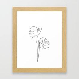 One Line Monstera Leaves Framed Art Print