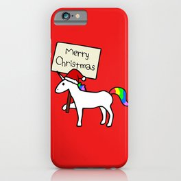 Merry Christmas Unicorn (Red Background) iPhone Case