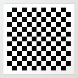 Race Flag Black and White Checkerboard Art Print