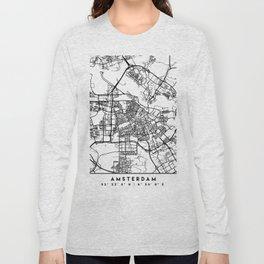AMSTERDAM NETHERLANDS BLACK CITY STREET MAP ART Long Sleeve T-shirt