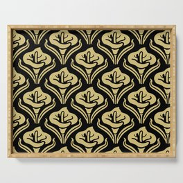 Calla Lily Pattern Black and Gold Serving Tray