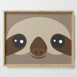 funny and cute smiling Three-toed sloth on brown background Serving Tray
