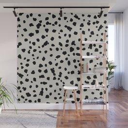 Scattered Spots Black On Beige Wall Mural