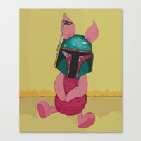 piglet Canvas Prints featuring Piglet Fett by Steve Smith paperbirdart