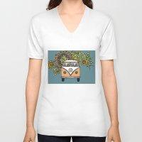vw V-neck T-shirts featuring VW bus by Woosah