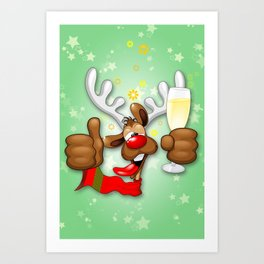 Reindeer Drunk Funny Christmas Character Art Print