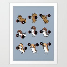 Olympic Lifting Beagles Art Print