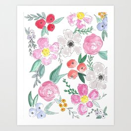 Floral Peony and Rose Watercolor Print  Art Print