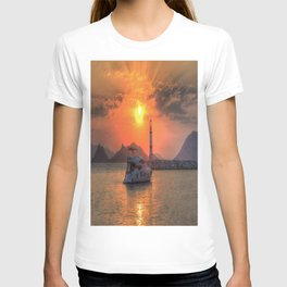 Lighthouse And Yacht Sunset T-shirt