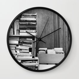 Paris in Black and White, French Books Wall Clock