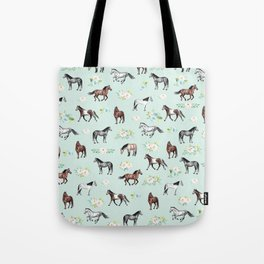 Floral Horse Pattern, Flowers and Horses, Hand Painted, Girl's Room, Romantic Blue Floral Tote Bag
