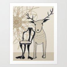 chair and deer Art Print
