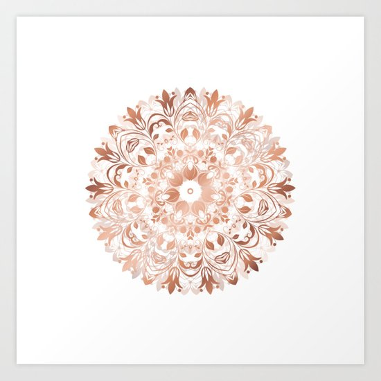 Rose Gold Floral Mandala Art Print