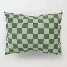 Large Dark Forest Green Checkerboard Pattern Pillow Sham