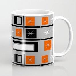 Mid Century Modern Grid Print - Orange, Black and White on Gray Coffee Mug