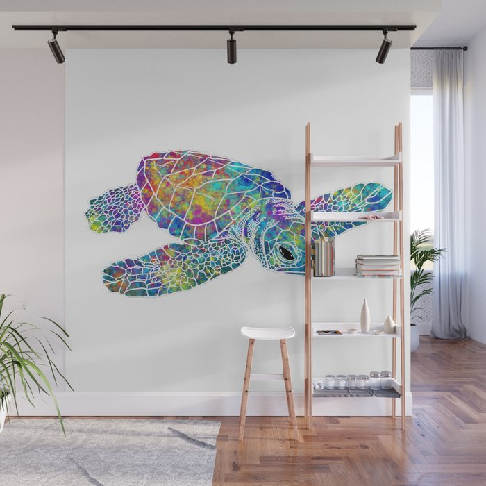 Colorful Sea Turtle Wall Mural By