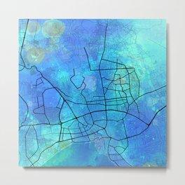 Antalya Street Map Art Watercolor Marine Blue Metal Print